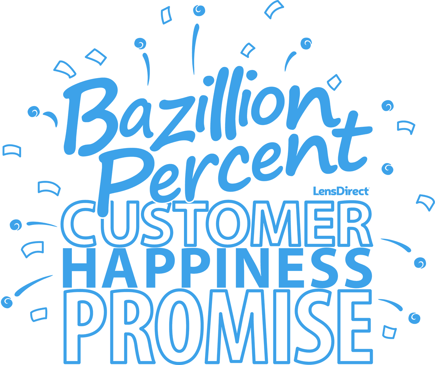 Bazillion percent customer happiness promise