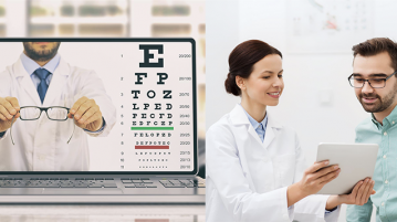 online eye exam vs. in-person eye exam
