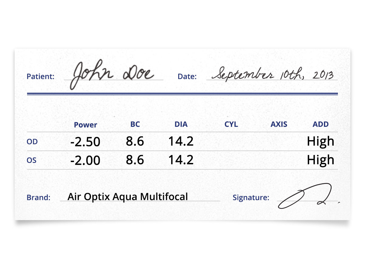 Air Optix Aqua Multifocal Prescription Contacts