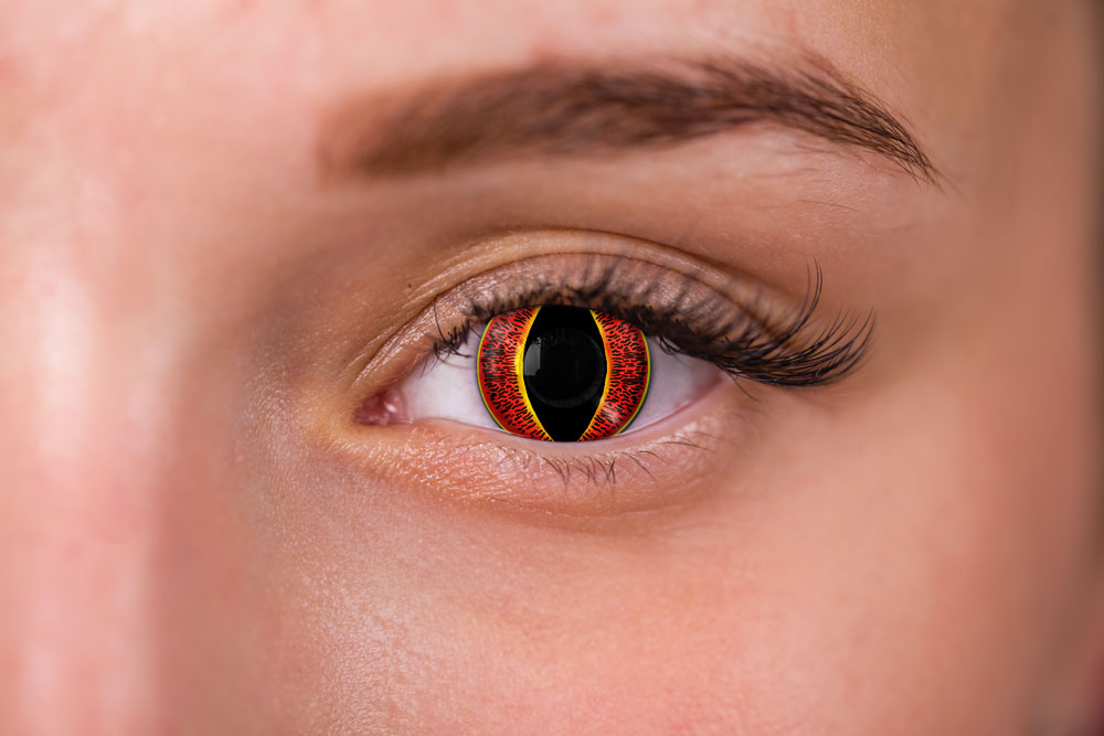 Woman wearing banshee contacts red yellow