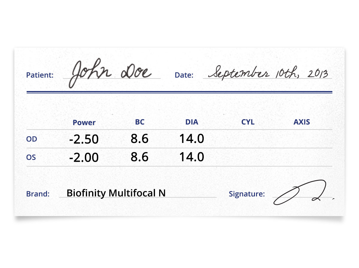 Biofinity Multifocal N Contacts Prescription