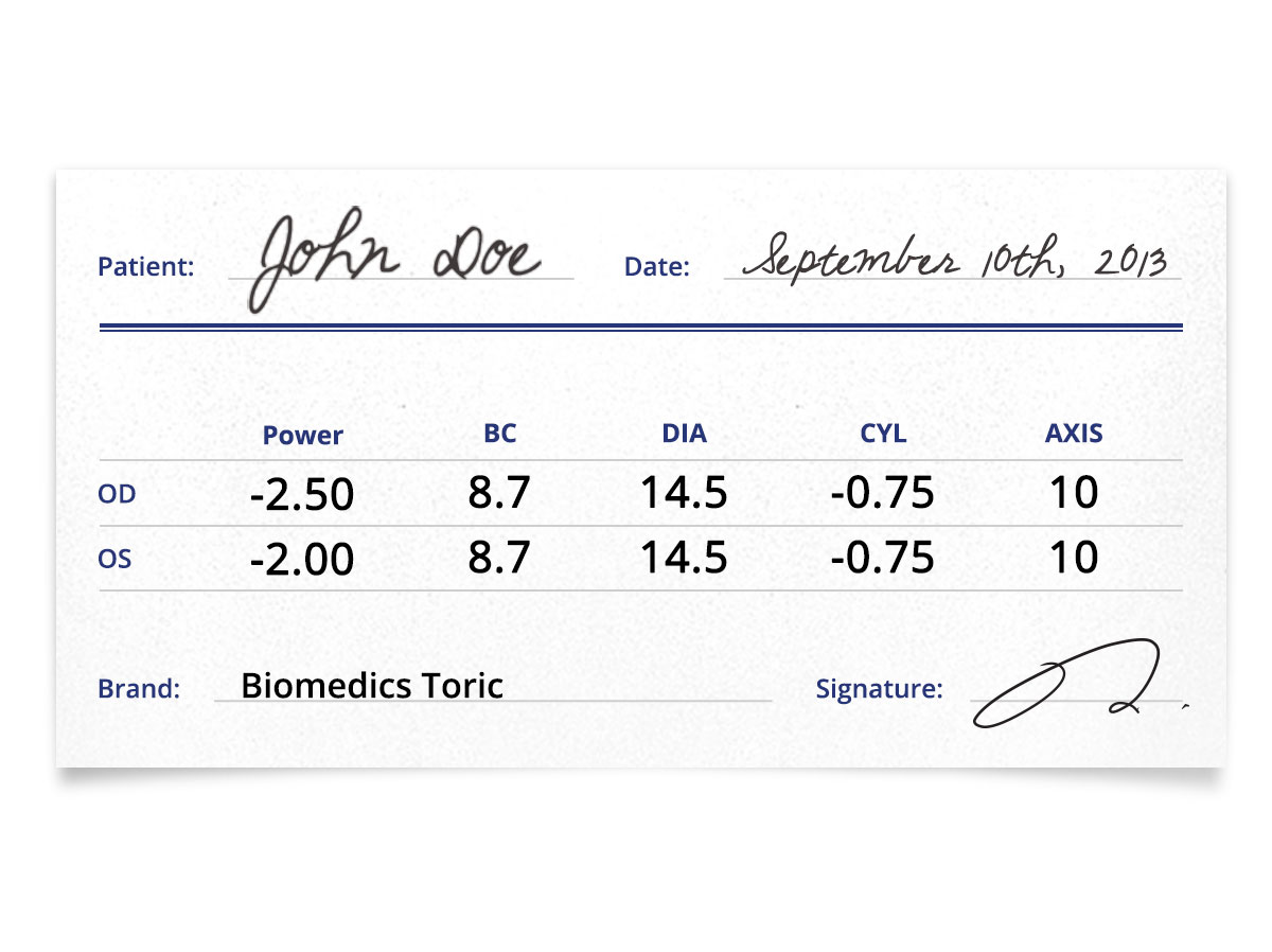Biomedics Toric Prescription