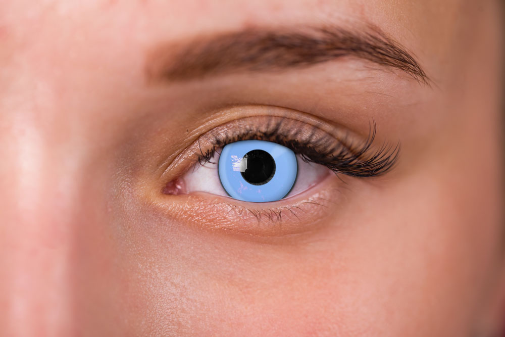 woman wearing soft blue contact lenses