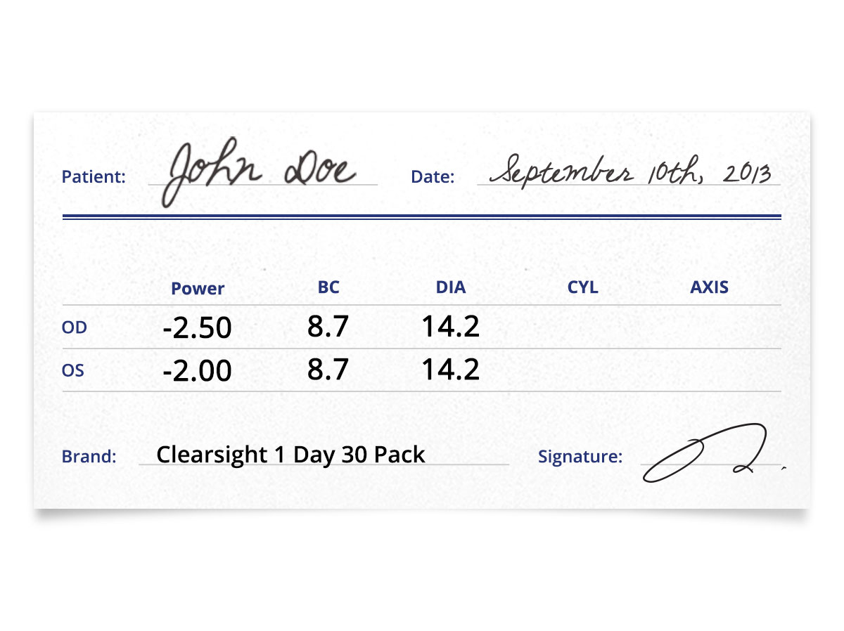 clearsight 1 day 30 pack contacts prescription