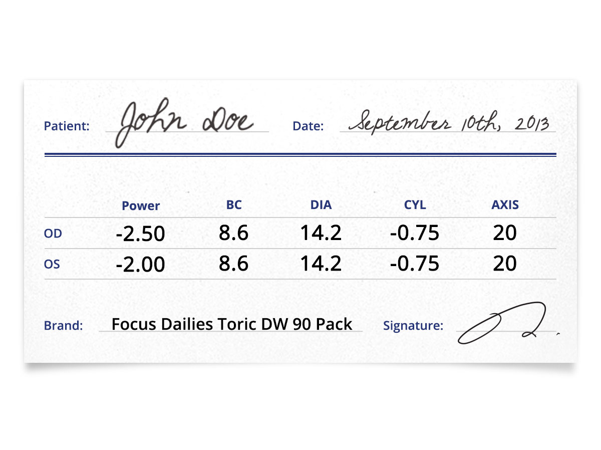 Focus DAILIES Toric Prescription Contacts