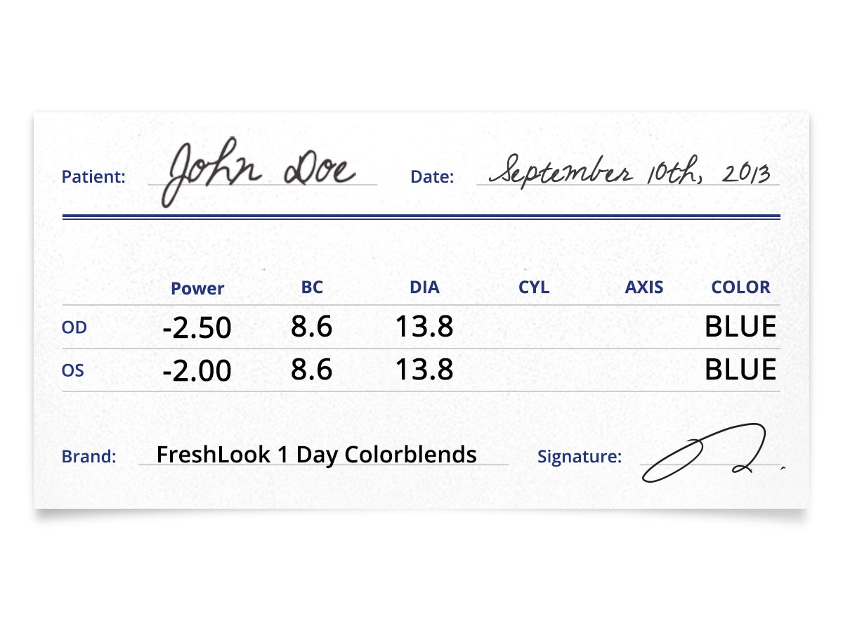 Freshlook one day color patient prescription