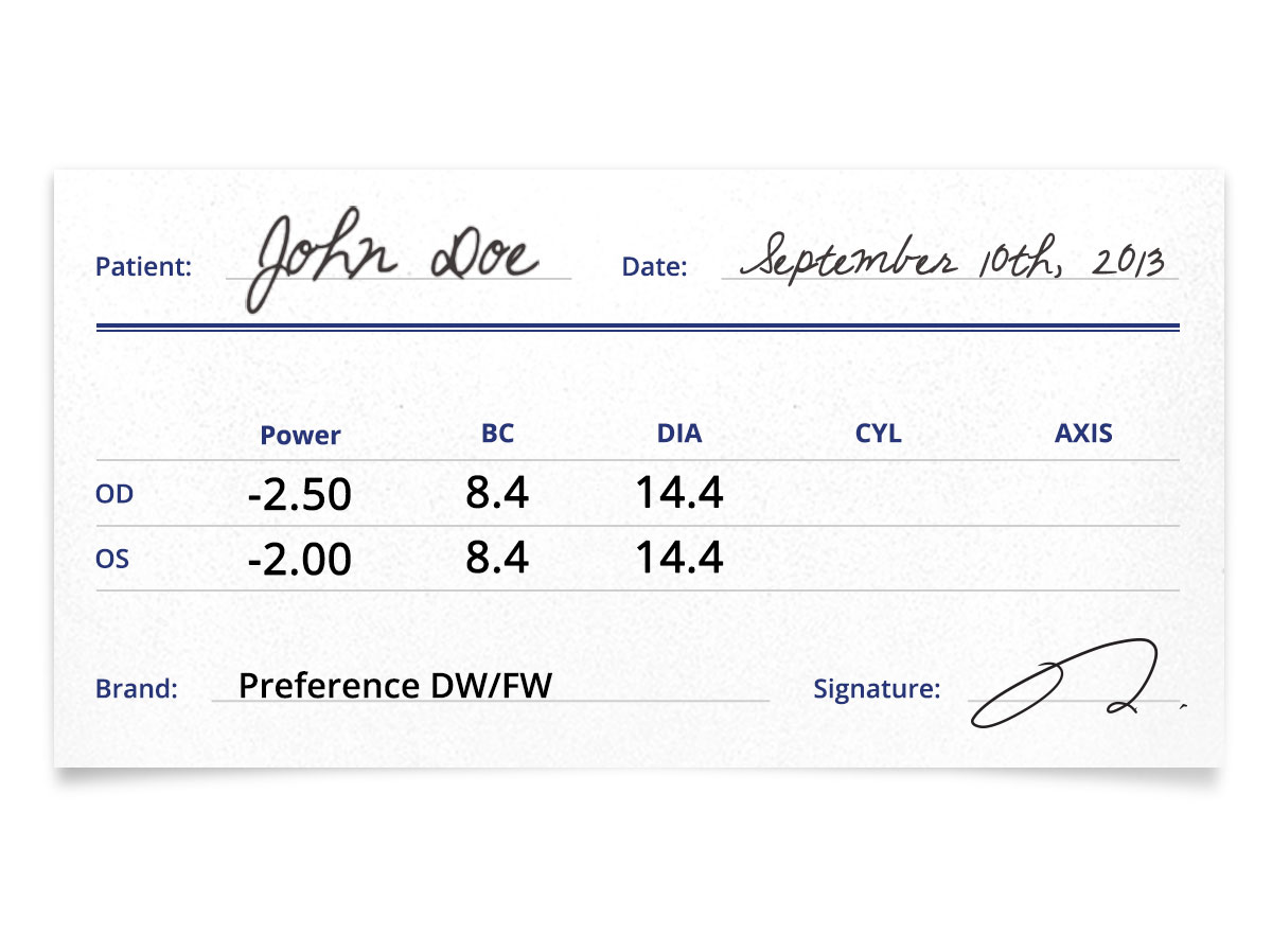 Preference DW/FW Contacts Prescription