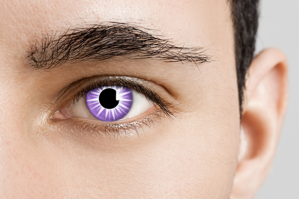 man wearing purple and white starburst contacts