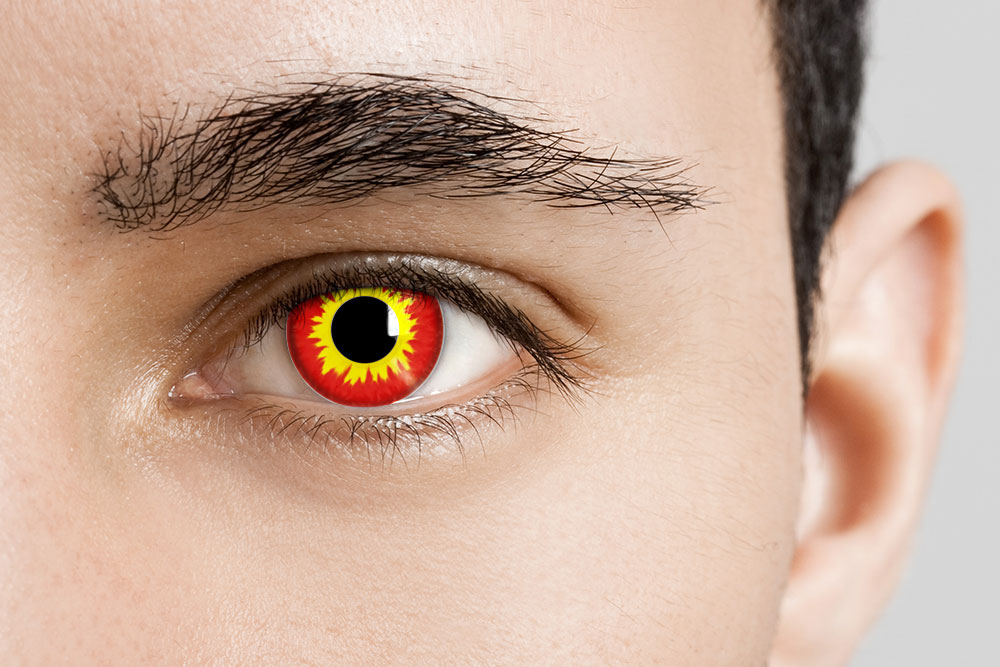 Man Wearing Wildfire Angry Pennywise Contacts
