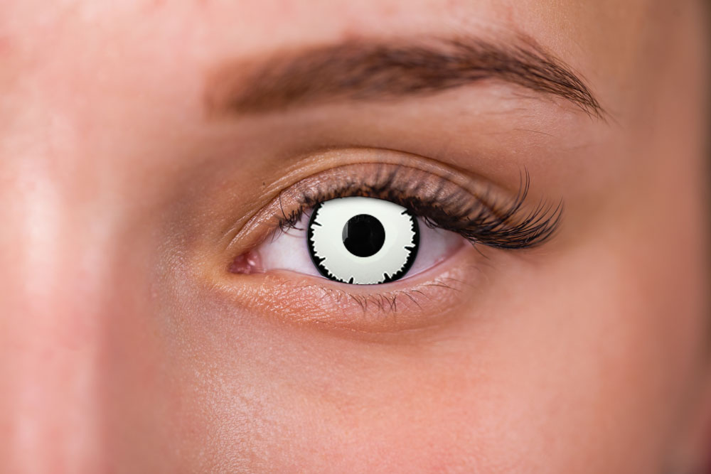 woman wearing angelic white / eclipse white contact lenses