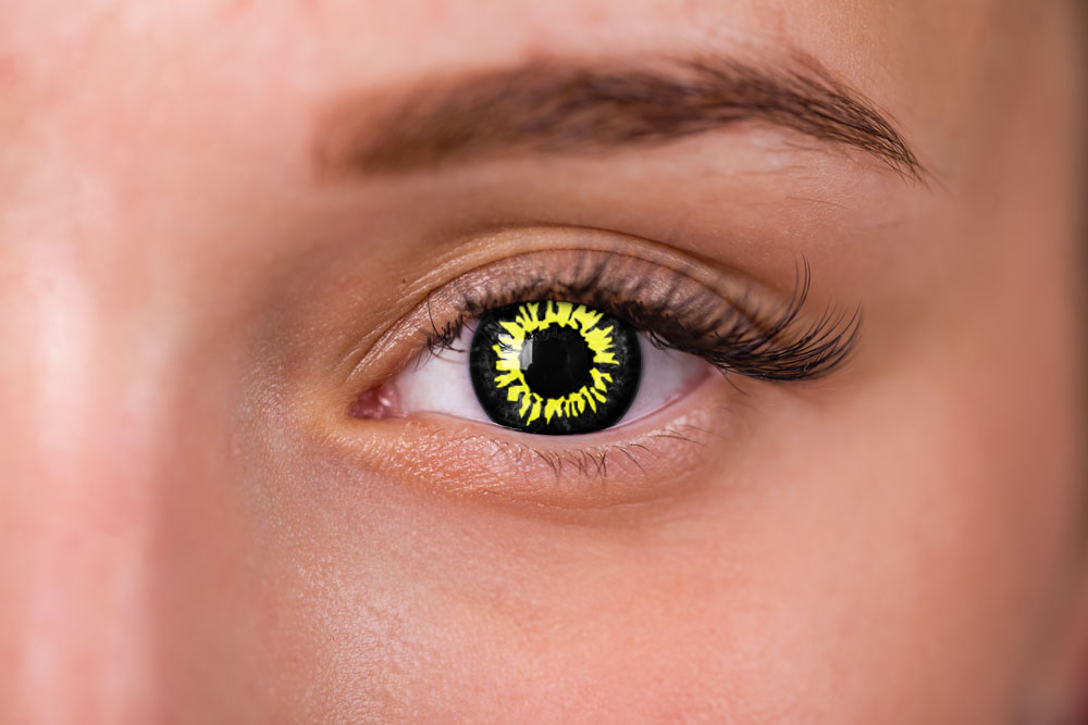 Yellow and Black Wolf Eye Contacts | LensDirect