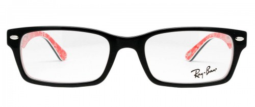 Ray Ban RX5206 Black on Textured Red